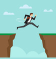 businessman jump through the gap between cliffs vector image