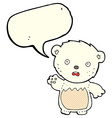 cartoon worried polar bear with speech bubble vector image vector image