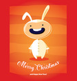 christmas card with boy in rabbit costume vector image vector image
