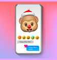 christmas emoji monkey in santas hat holiday vector image vector image