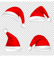christmas santa claus hats set new year red hat vector image