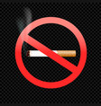 cigarette forbid sign symbol on black vector image