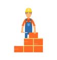 construction worker bricklayer making a brickwork vector image