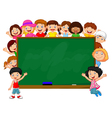 Crowd children with chalkboard vector image vector image