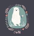cute cartoon bear in floral wreath childish print vector image vector image