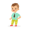 cute smiling little boy dressed in fashion clothes vector image vector image