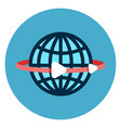 earth globe with lines icon web button on round vector image vector image