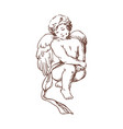 elegant drawing of lovely sitting cupid isolated vector image vector image