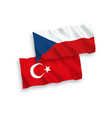 Flags turkey and czech republic on a white
