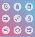 gastronomy icons line style set with hand blender vector image
