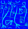 geometric pattern made from plant blue and mint vector image vector image