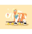 Girl skateboarding design flat vector image