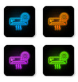 glowing neon air conditioner and gear icon vector image vector image