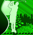 golf urban grunge poster with player silhouette vector image