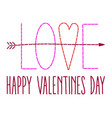 hand stitched happy valentines day typography vect vector image vector image