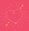 heart on a pink background in rays sun vector image vector image