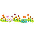 line of flowers vector image vector image