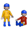 little people toys on white background vector image