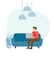 man on the sofa with laptop businessman work at vector image