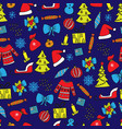 new year seamless pattern on the blue background vector image