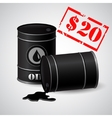 Oil Barrel Price 20 dollars vector image