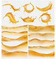 oil waves realistic golden liquid surface oil vector image vector image