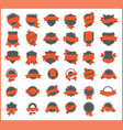 orange stickers set 1 vector image vector image
