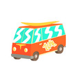 red vintage surfing van with surfboard classic vector image