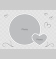 round photo frames with heart for family album vector image vector image