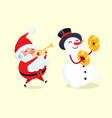 santa playing on trumpet snowman with drum cymbal vector image