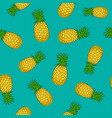 seamless pattern pineapple on azure background vector image vector image