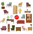 set accessories and furniture armchairs of vector image vector image