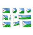 set djibouti flags banners banners symbols vector image vector image
