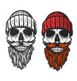 skull with red beard mustache and knitted hat vector image