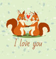squirrels couple in love banner greeting card vector image vector image