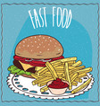steak burger and french fries with ketchup vector image vector image