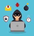 system hacker character icon vector image vector image