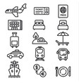 travel icons monochrome vector image vector image