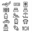 travel icons monochrome vector image