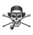 vintage gentleman skull in fedora hat vector image
