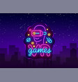 vr games neon sign virtual reality vector image vector image
