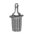 wine bottle carboy engraving style vector image vector image