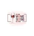 wine glass border watercolor logo design on white vector image