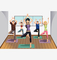 yoga students at yoga studio vector image