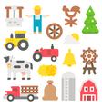 Flat design farm items set vector image