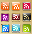 Colored buttons with RSS sign vector image