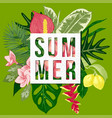 summer background with tropical plants and flowers vector image