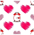 Heart and watch the time of love Seamless pattern vector image