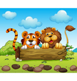 A lion and a tiger hiding vector | Price: 1 Credit (USD $1)