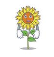 afraid sunflower mascot cartoon style vector image vector image